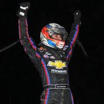 Bryan Clauson celebrates after winning Wednesday's AMSOIL USAC National Sprint Car Series event at the Terre Haute Action Track. (TWC Photo)
