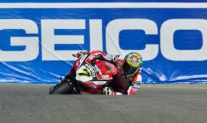 Chaz Davies had the fastest time in practice Friday ahead of World Superbike qualifying at Mazda Raceway Laguna Seca. (World Superbike Photo)