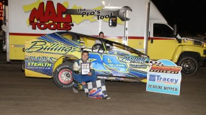 Matt Billings celebrates his win on Friday night at Brewerton Speedway. (Brewerton photo)