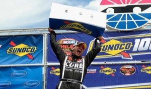 Bobby Santos celebrates after winning Saturday's NASCAR Whelen Modified Tour event at New Hampshire Motor Speedway. (NASCAR Photo)