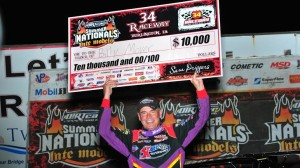 Billy Moyer celebrates his Hell Tour win at 34 Raceway. (R.J. Brown photo)