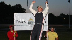 Trampas Demers celebrates his Mid-Season Championship win in Times Argus victory lane. (Alan Ward photo)