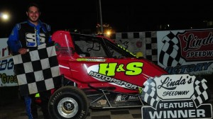 Steve Whary celebrates his win Friday at Linda's Speedway. (Amy Williams photo)