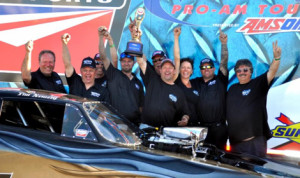 Tim Nemeth celebrates his second IHRA Nitro Funny Car victory in a row Sunday at Canada's Castrol Raceway. (IHRA Photo)