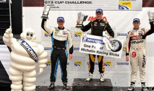 Spencer Pigot (center) captured Sunday's  Ultra 94 Porsche GT3 Cup Challenge Canada by Michelin event in Toronto. (IMSA Photo)