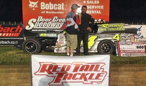 Ben Anderson gets interviewed in victory lane after winning the USRA Iron Man Challenge B-Mod event at Deer Creek Speedway Friday. (USRA Photo)