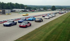 The Spec Miata field takes the green flag during Saturday's SCCA  Northern Conference Majors Tour event at Road America. (SCCA Images Photo)