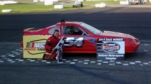 Timmy Catalano celebrates after winning at Holland NASCAR Motorsports Complex on Saturday. (Steve Petty photo)