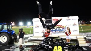 Daniel Hemric does a backflip after winning another Summer Shootout race at Charlotte Motor Speedway on Tuesday. (CMS photo)