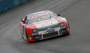 Mathias Lauda on his way to victory in Sunday's NASCAR Whelen Euro Series event at Tours Speedway in France. (Stephane Azemard Photo)