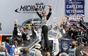 Johnny Sauter wins the Careers for Veterans 200 at the Michigan Int'l Speedway in Brooklyn, Mich. (HHP/Alan Marler photo)