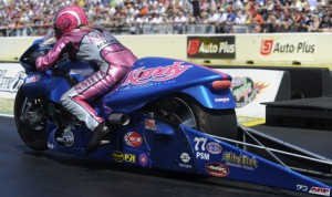 Kandy Magazine has extended its support of NHRA Pro Stock Motorcycle racer Angie Smith through the remainder of the year. (NHRA Photo)