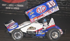 Donny Schatz, shown at Knoxville Raceway, won Tuesday's World of Outlaws STP Sprint Car Series feature at Junction Motor Speedway in Nebraska. (Frank Smith photo)