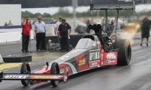 J.R. Todd had the fastest time in NHRA Top Fuel testing for the U.S. Nationals at Lucas Oil Raceway on Wednesday. (NHRA Photo)
