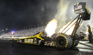 Tony Schumacher topped the NHRA Top Fuel qualifying charts Friday for the Chevrolet Performance U.S. Nationals at Lucas Oil Raceway. (NHRA Photo)