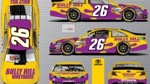 Cole Whitt's car will have Bully Hill Vineyards as a primary sponsor on Sunday. (BK Racing photo)
