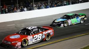 Donald Chisholm (28) leads JR Fitzpatrick (84) Saturday night at Riverside. (NASCAR photo)
