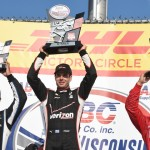 Will Power (center), Juan Pablo Montoya (left) and Tony Kanaan were the top three finishers in Sunday's Verizon IndyCar Series race at The Milwaukee Mile. (Al Steinberg Photo)