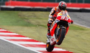Marc Marquez topped the MotoGP practice charts Friday at the Silverstone Circuit. (MotoGP Photo)