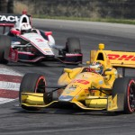 Ryan Hunter-Reay (28) leads Helio Castroneves during Sunday's Verizon IndyCar Series event at the Mid-Ohio Sports Car Course. (Ted Rossino Jr. Photo)