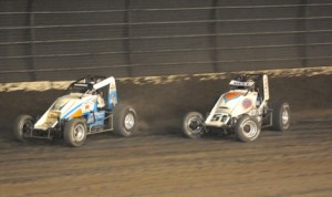 Christopher Bell (51) chases Ryan Bernal Saturday at Calistoga (Calif.) Speedway. (Tom Parker photo)