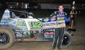 Brady Bacon won Thursday's USAC Southwest Sprint Car Series race at Oklahoma's Creek County Speedway. (TWC photo)