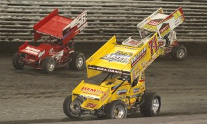 Joey Saldana (71m), Davey Heskin (56) and Brian Brown during Sunday's Capitani Classic at Knoxville Raceway. Rain has forced the track to change the 54th FVP Knoxville Nationals schedule again. (Dick Ayers Photo)