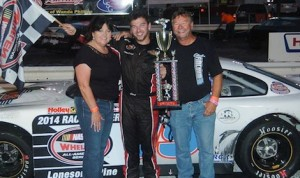 Chad Finchum in victory lane at Lonesome Pines Raceway. (Drew Hierwarter photo)