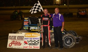 Brady Short pocketed $5,000 for winning Saturday's Midwest Sprint Car Series event at Tri-State Speedway. (Doug Vandeventer Photo)