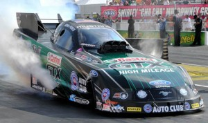 John Force pocketed $100,000 for winning the NHRA Funny Car Traxxas Nitro Shootout at Lucas Oil Raceway Sunday. (Kent Steele Photo)