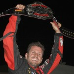 Brian Brown celebrates his victory in Monday's Front Row Challenge at Southern Iowa Speedway. (Dick Ayers Photo)