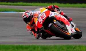 Marc Marquez topped the time sheets during MotoGP practice Friday at Indianapolis Motor Speedway. (Eric Schwarzkopf Photo)