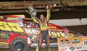 Anthony Perrego celebrates his victory in Wednesday's Battle at the Bullring 2 at Accord Speedway. (Dave Dalesandro/RPW Photo)