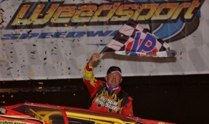 Billy Decker celebrates his second-straight Super DIRTcar Series victory Thursday night at Weedsport (N.Y.) Speedway. (Dave Dalesandro/RPW Photo)