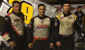 Jon McKennedy (center) won Friday's Ollie Silva Memorial at Lee USA Speedway. He shared the podium with Eddie Witkum Jr. and Ben Seitz.