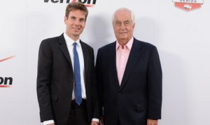 Will Power (left) and team owner Roger Penske pose on the red carpet prior to the IndyCar Championship Celebration Sunday in Los Angeles. (IndyCar Photo)
