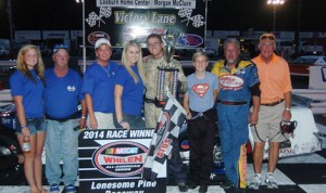 Ryan Stiltner claimed the first of two late model stock features at Lonesome Pine Raceway in Virginia Saturday. (Drew Hierwarter Photo)