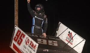 Matt Covington celebrates winning the Jackson Nationals. (Doug Johnson photo)