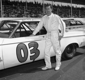 LeeRoy Yarbrough is seen next to the No. 03 Ray Fox Dodge at Darlington in 1964. (Tom Kirkland/Smyle Media Photo)