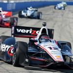 Will Power (12) leads Tony Kanaan during Sunday's Verizon IndyCar Series race at The Milwaukee Mile. (Dave Heithaus Photo)