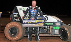 R.J. Johnson outran Brady Bacon to win Wednesday's USAC Southwest Sprint Car Series feature at Oklahoma's Lawton Speedway. (TWC Photo)
