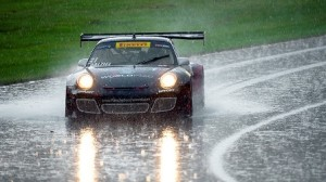 Rain shortened the Pirelli World Challenge action at Mid-Ohio on Saturday, but it didn't stop it. (SCCA photo)