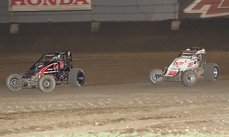 Jon Stanbrough (37) leads Robert Ballou Friday night at Indiana's Kokomo Speedway. (Gordon Gill photo)