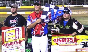Stormy Scott in victory lane at Outlaw Motor Speedway.