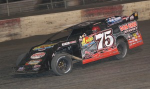 Terry Phillips on his way to winning Friday's United States Modified Touring Series event at Lakeside Speedway in Kansas. (Ivan Veldhuizen Photo)