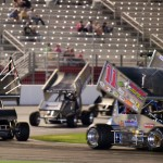 Joey Aguilar (11) leads they way during Friday's USCS Outlaw Thunder Tour race at Atlanta Motor Speedway. (Chris Seelman Photo)
