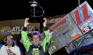 Joey Aguilar won Friday night's USCS sprint car race at Atlanta Motor Speedway. (Chris Seelman photo)
