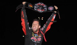 Brian Brown celebrates his victory in Monday's Front Row Challenge at Southern Iowa Speedway. (Frank Smith Photo)