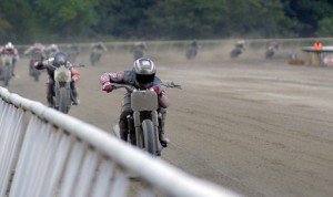 Bryan Smith leads the way during Saturday's AMA Pro Flat Track race in Virginia. (Dave Hoenig Photo)