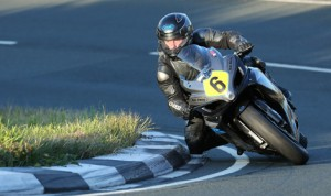 Andrew Soar in action during practice for the Manx Grand Prix. (Dave Kneen Photo)